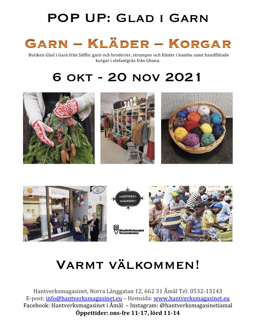 POP UP: Glad i Garn från Säffle. 6 oktober - 20 november. Garn, kläder korgar.